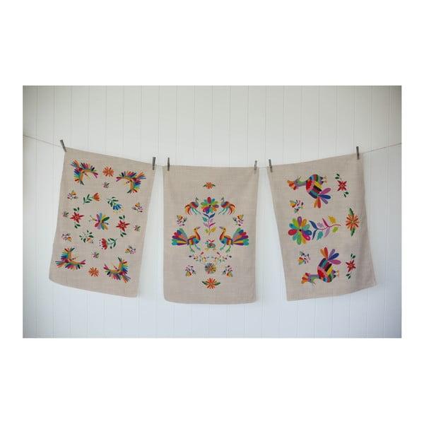 Zestaw 3 ścierek z domieszką bawełny Madre Selva Otomi Lino