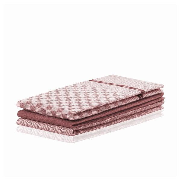 Louie 3 db-os sötét rózsaszín pamut konyharuha szett, 50 x 70 cm - DecoKing