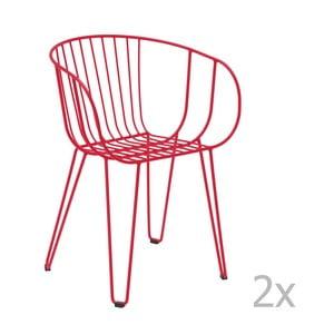 Sada 2 červených zahradních židlí Isimar Olivo