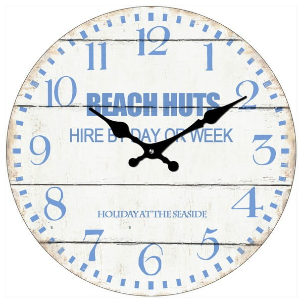 Skleněné hodiny Beach Huts, 34 cm