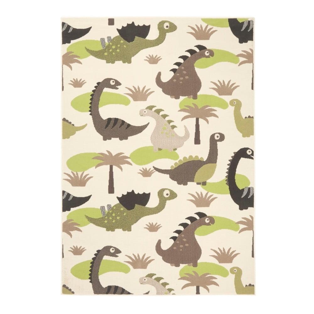 Dětský zelenohnědý koberec Zala Living Dino, 140 x 200 cm