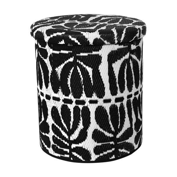 Puf cu spațiu pentru depozitare, adecvat pentru exterior Fab Hab Serowe Black, alb - negru
