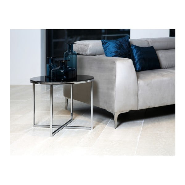 Černý odkládací stolek Actona Cross, ⌀ 55 cm