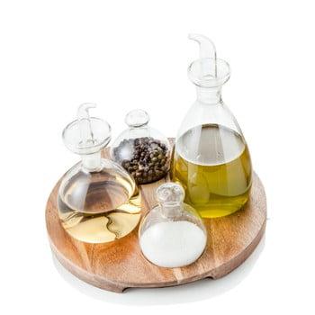 Set 4 recipiente pentru condimente cu suport din lemn de salcâm Brandani Verr imagine