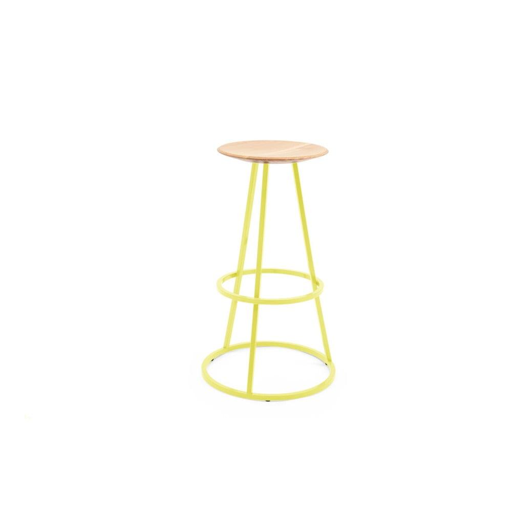Barová stolička s dubovou deskou a žlutou kovovou konstrukcí HARTÔ Gustave, výška 65cm