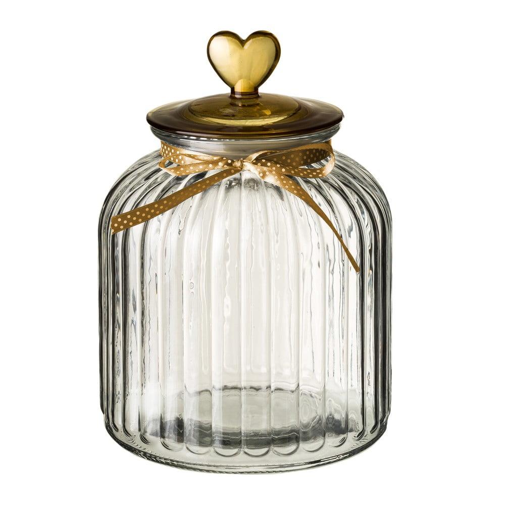 Skleněná dóza s víčkem ve zlaté barvě Unimasa Heart, 4,2l