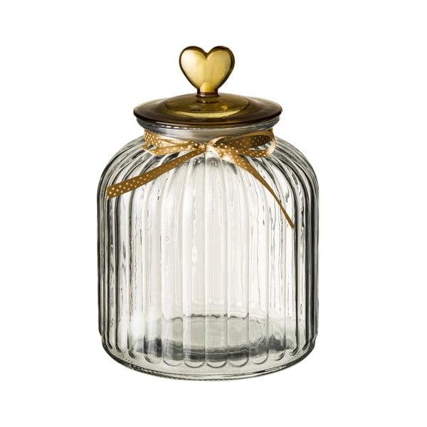 Recipient din sticlă cu capac Unimasa Heart, 4,2 l, auriu