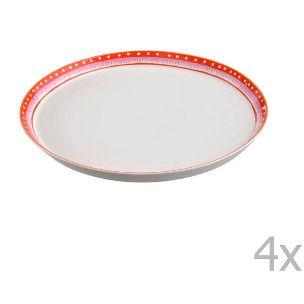 Sada 4 porcelánových talířů na pizzu Oilily 31 cm, červený okraj