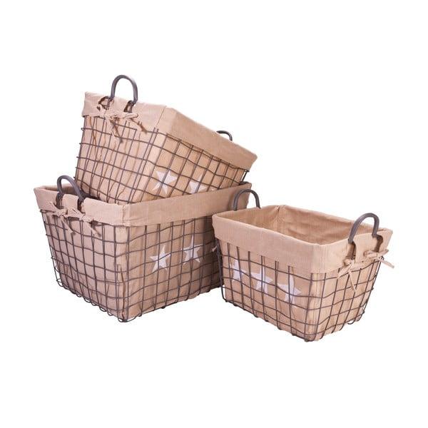 Sada 3 hranatých proutěných košíků Star
