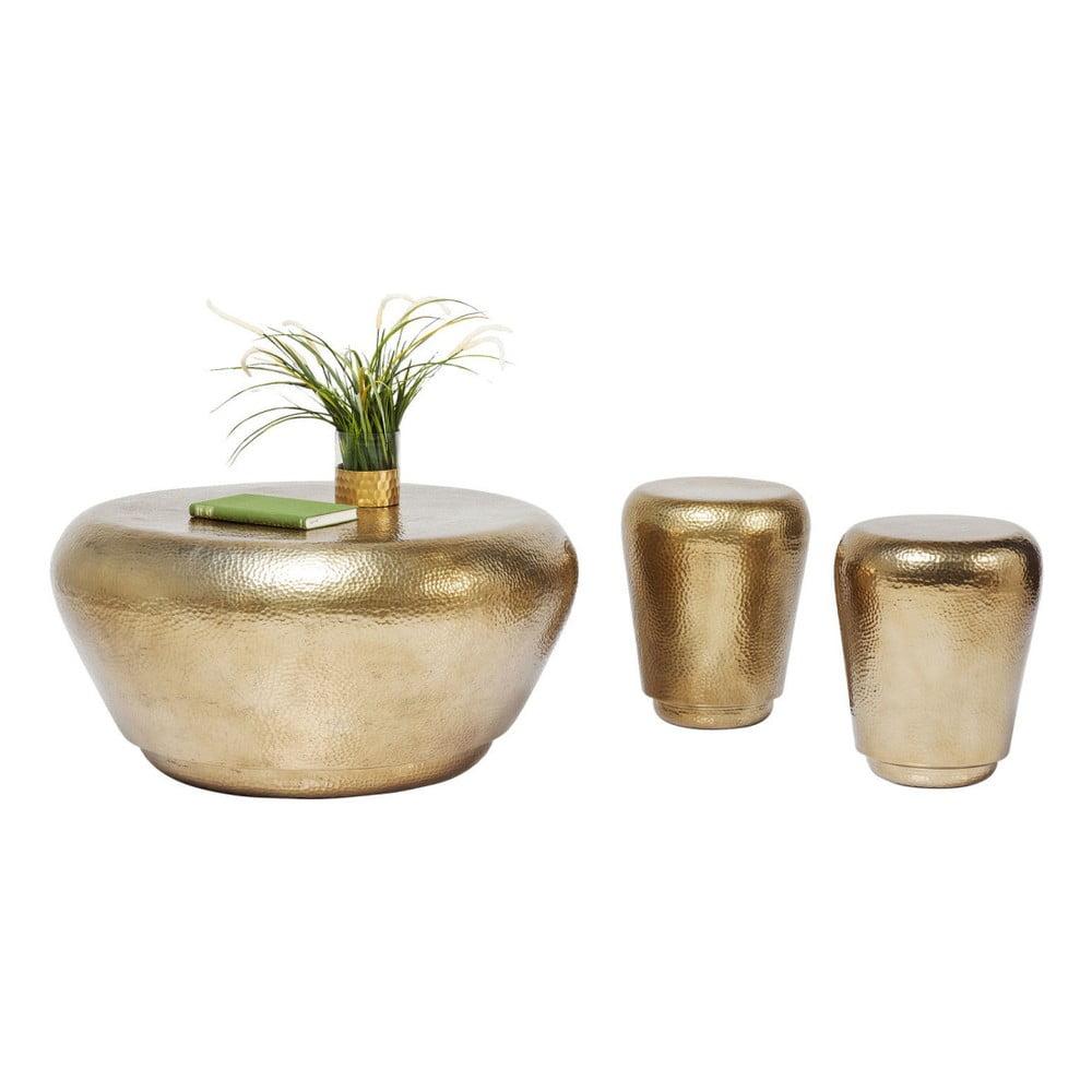 Sada 3 odkládacích stolků ve zlaté barvě Kare Design Antico