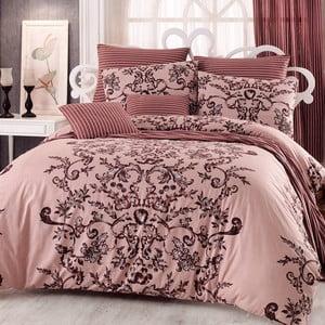 Lenjerie de pat din bumbac cu cearșaf Royal, 200 x 220 cm, roz