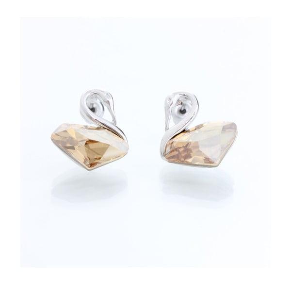 Náušnice s krystaly Swarovski Elements Laura Bruni White Swan