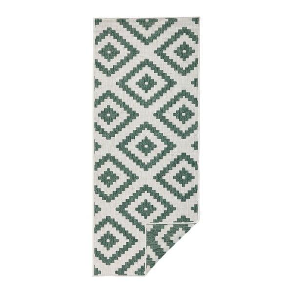 Covor adecvat pentru exterior Bougari Malta, 80 x 250 cm, verde-crem
