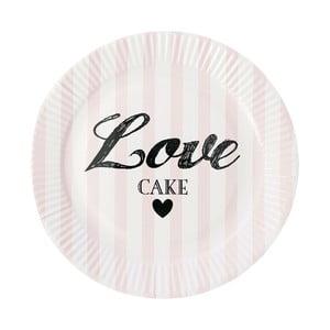 Sada papírových talířů Miss Étoile Rose Stripe, 8 ks