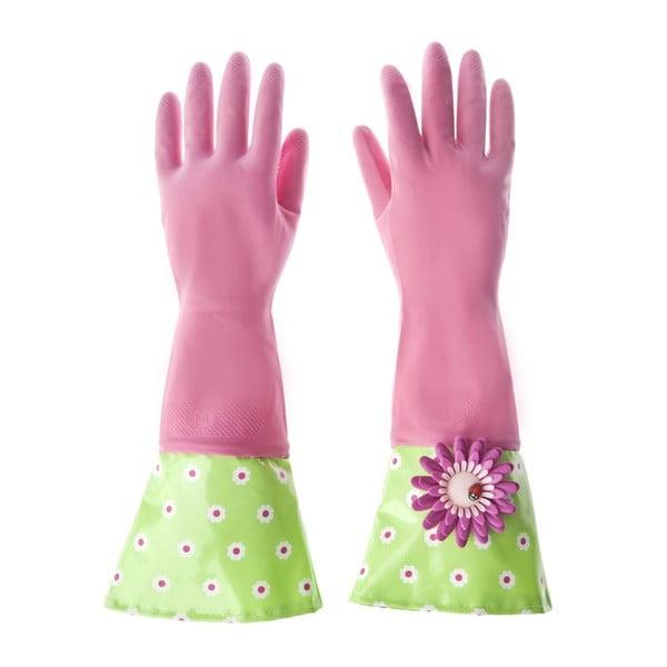 Úklidové rukavice Flower Power, vínová