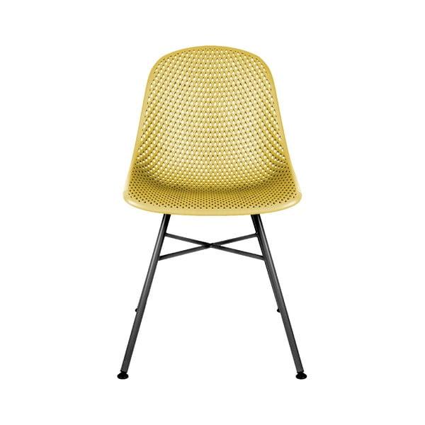 Žlutá jídelní židle Leitmotiv Diamond Mesh