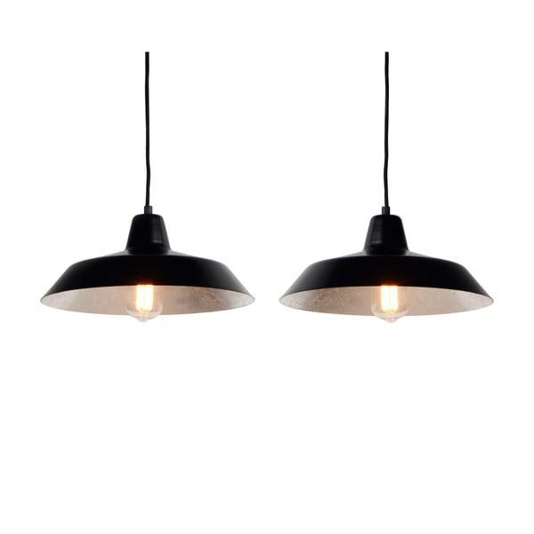 Lampa wisząca z 2 czarnymi kablami i kloszami w czarnym oraz srebrnym kolorze Bulb Attack Cinco, ⌀85cm