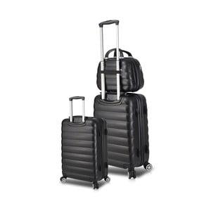Sada 2 černých cestovních kufrů na kolečkách s USB porty a příručního kufříku My Valice RESSO Cab Med & MU