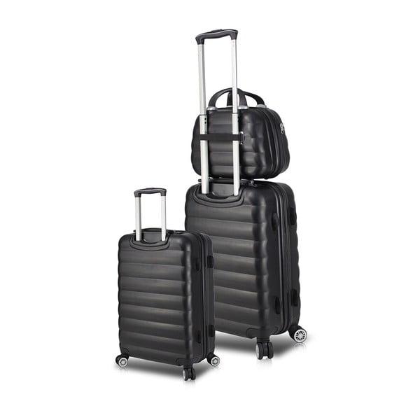 Zestaw 2 czarnych walizek na kółkach z USB i kuferka podróżnego My Valice RESSO Cab Med & MU