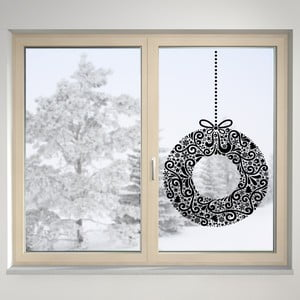 Elektrostatická samolepka Holly Wreath