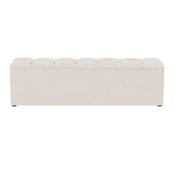 Béžový otoman k posteli s úložným prostorem Kooko Home Manna, 47 x 140 cm