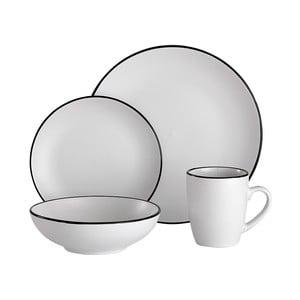 Serviciu de masă din gresie ceramică Ladelle Line, alb, 16 buc.