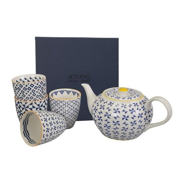 Porcelánová sada na čaj Geometric Blue