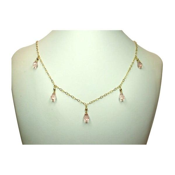 Zlatý náhrdelník Gemstone Teardrop (morganit)