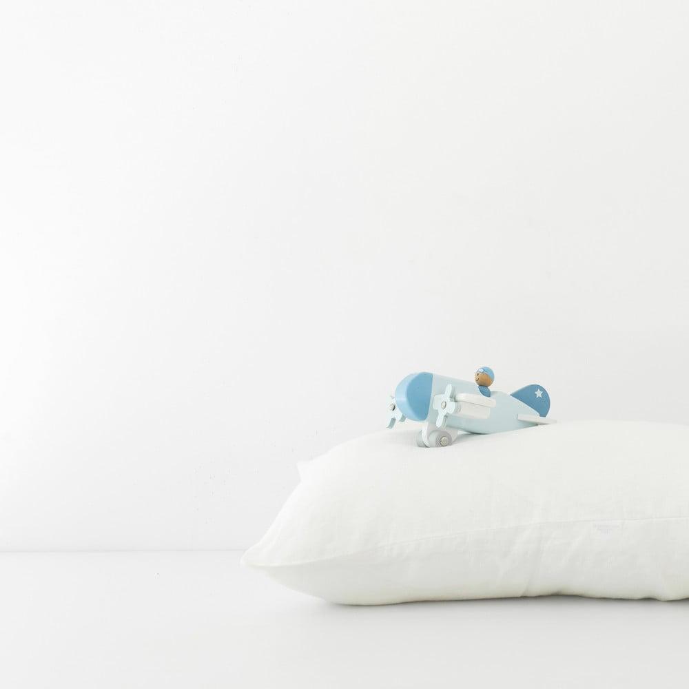 Dětský bílý lněný povlak na polštář Linen Tales Nature, 40 x 45 cm