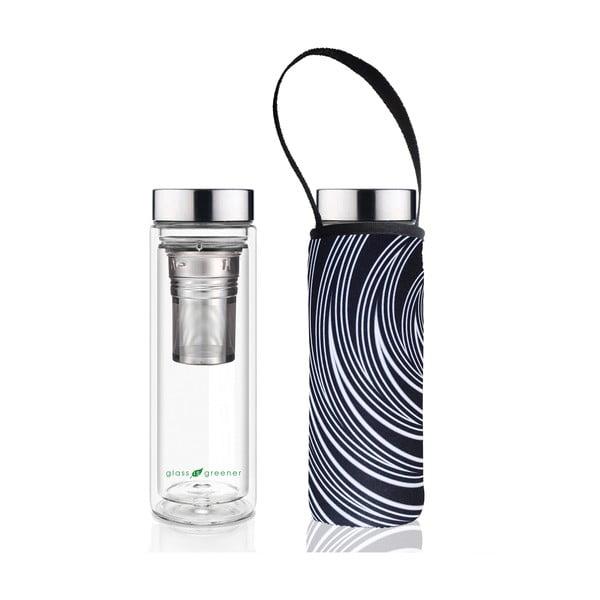 Cestovní termolahev z borosilikátového skla s obalem a sítkem BBBYO Spiral, 500 ml