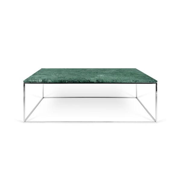 Zelený mramorový konferenční stolek s chromovými nohami TemaHome Gleam, 120 cm