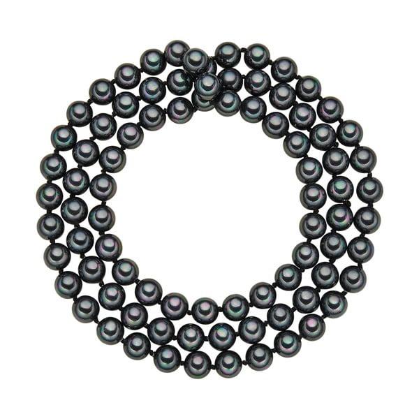 Náhrdelník s antracitově černými perlami ⌀8 mm Perldesse Muschel, délka 80 cm