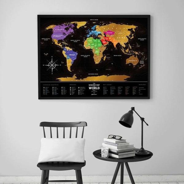Stírací mapa světa Scratch Map of the World Black