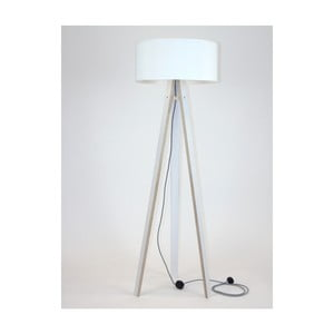 Lampadar cu abajur alb și cablu alb negru Ragaba Wanda