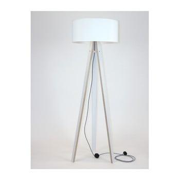 Lampadar cu abajur alb și cablu alb negru Ragaba Wanda imagine