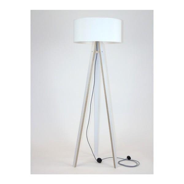 Bílá stojací lampa s bílým stínítkem a černo-bílým kabelem Ragaba Wanda