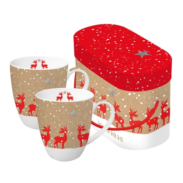 Sada 2 hrnků z kostního porcelánu s vánočním motivem v dárkovém balení PPD Make a Wish, 350 ml