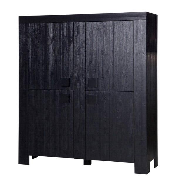 Černá skříň z borovicového dřeva De Eekhoorn Dirk