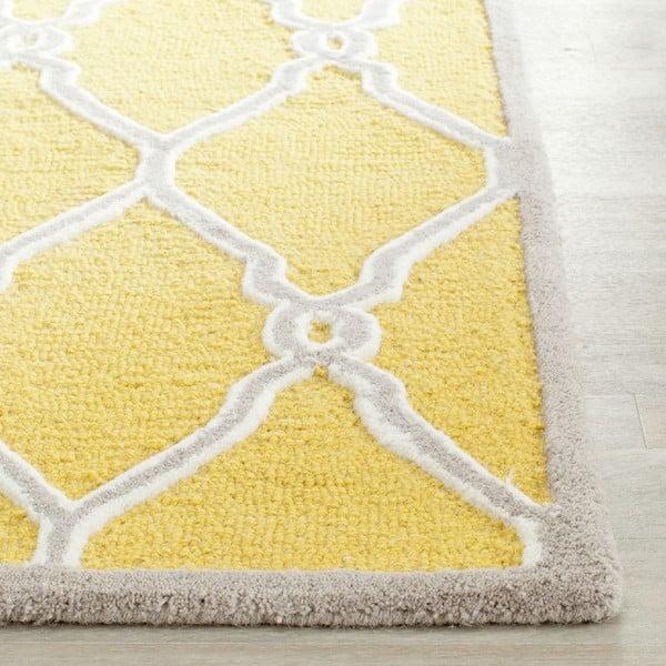 Vlněný koberec Augusta Yellow, 91x152 cm
