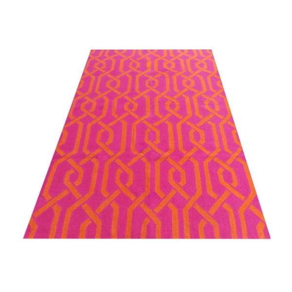 Růžový vlněný koberec Kilim Modern, 150x240 cm