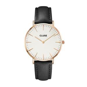 Dámské hodinky s černým koženým řemínkem a detaily v barvě růžového zlata Cluse La Bohéme