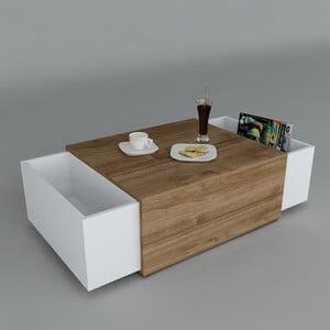 Konferenční stolek Volume White/Walnut, 61x110x31 cm