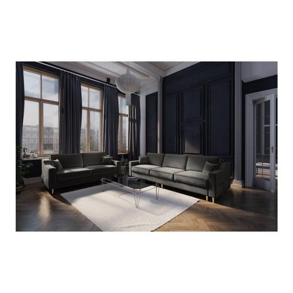 Tmavě šedá třímístná rozkládací pohovka Mazzini Sofas Marigold