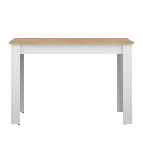 Bílý jídelní stůl s deskou v dekoru bukového dřeva Symbiosis Nice, 110x70cm