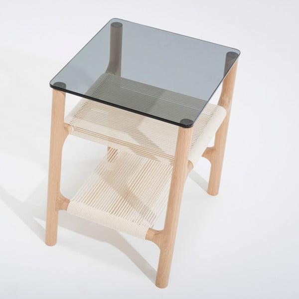 Fawn kisasztal tömör tölgyfa szerkezettel és szürke asztallappal - Gazzda