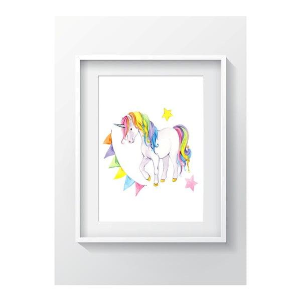Nástenný obraz OYO Kids Colorful Unicorn, 24 x 29 cm