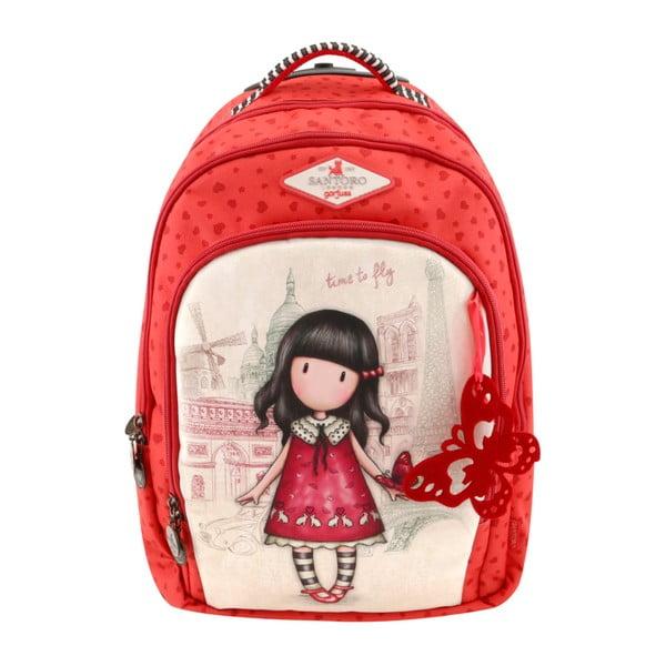 Červený školní batoh Santoro London Time To Fly