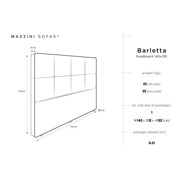 Krémové čelo postele Mazzini Sofas Barletta, 140 x 120 cm