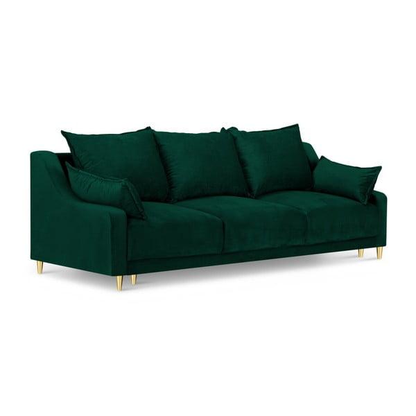 Canapea extensibilă cu 3 locuri și spațiu de depozitare Mazzini Sofas Pansy, verde