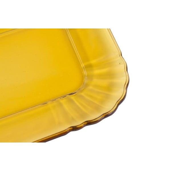 Žlutý skleněný tácek Kaleidos
